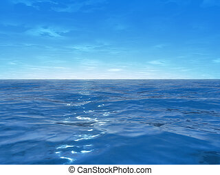 wide ocean  - 3d rendered illustration of the blue ocean