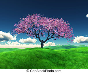 3D Cherry tree in a grassy landscape - 3D render of a Cherry...
