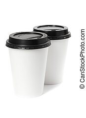 Two paper coffee cups isolated on white