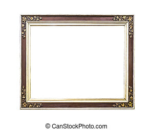 Antique golden wooden  frame isolated