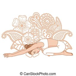 Women silhouette. Child s yoga pose. Balasana - Women...