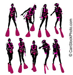 Female Scuba Diver Illustration Silhouette - Female scuba...