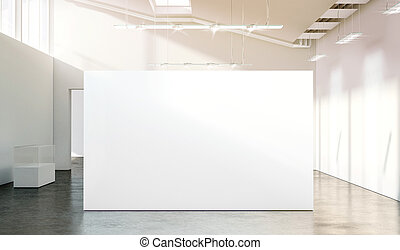 Blank white wall mockup in sunny modern empty gallery, 3d...