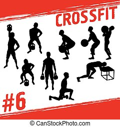 Crossfit concept. Vector silhouettes of people doing fitness...