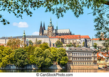Cityscape of Prague with Saint Vitus Cathedral, Czech...