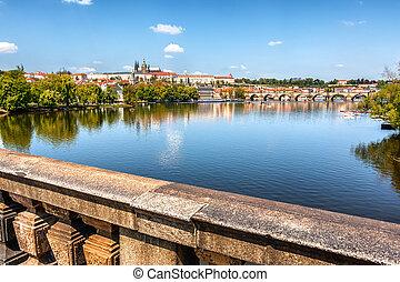 Vltava river, view from the bridge, Prague, Czech Republic
