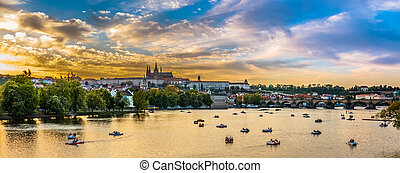Panoramic view of Vltava river with boats, Prague, Czech...