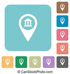 Bank office GPS map location rounded square flat icons