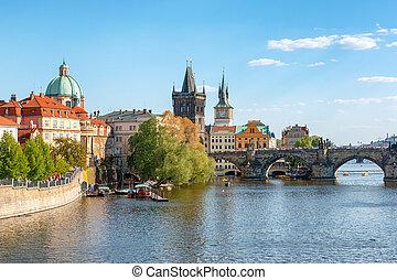 Charles bridge on Vltava river, Prague, Czech Republic, 2016