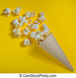 Popcorn in ice cream cones