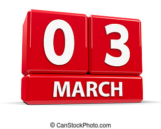 Cubes 3rd March - Red cubes - The Third of March - on a...