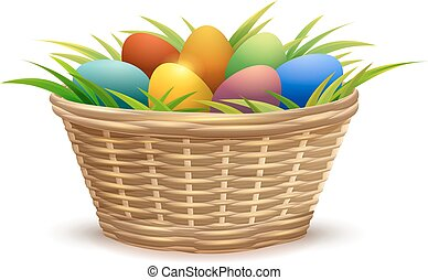 Wicker basket full of Easter eggs on grass. Isolated on...