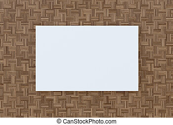 Empty plate on the wall of wood flooring. 3D-rendering