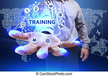 future:, palabra, red, concepto, joven,  virtual, empresa / negocio, hombre de negocios,  internet, entrenamiento, tecnología, exhibición, exposiciones