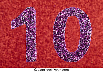 Number ten purple color over a red background. Anniversary.