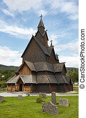 Norwegian stave church. Heddal. Historic building. Norway...
