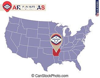 Arkansas State on USA Map. Arkansas flag and map. US States.