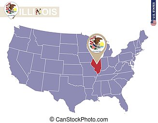 Illinois State on USA Map. Illinois flag and map. US States.
