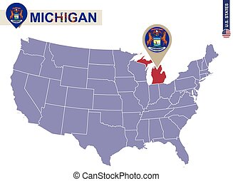 Michigan State on USA Map. Michigan flag and map. US States.