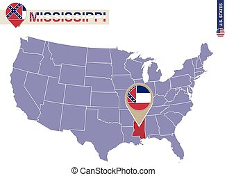 Mississippi State on USA Map. Mississippi flag and map. US...