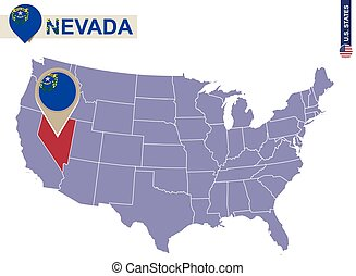 Nevada State on USA Map. Nevada flag and map. US States.