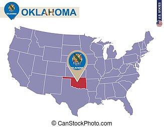 Oklahoma State on USA Map. Oklahoma flag and map. US States.