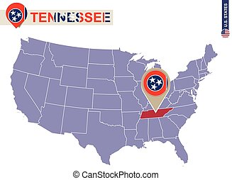 Tennessee State on USA Map. Tennessee flag and map. US...
