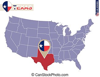 Texas State on USA Map. Texas flag and map. US States.