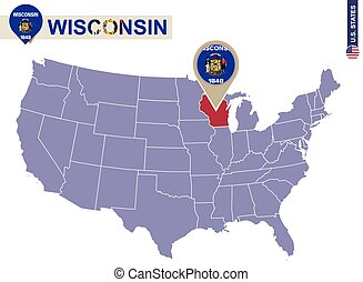 Wisconsin State on USA Map. Wisconsin flag and map. US...