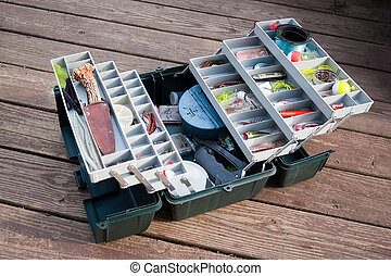Fishing Tackle Box - A large fishermans tackle box fully...