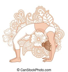 Women silhouette. Upward bow wheel yoga pose. Urdhva...