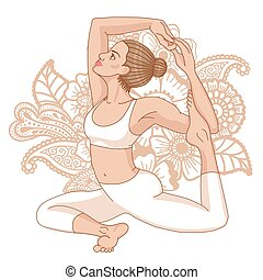 Women silhouette. Mermaid yoga pose. Eka pada raja...