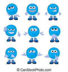 Cute Blue Emoticon Art Illustration