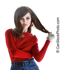 Fashion portrait of young beautiful woman in retro style...