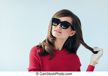 Fashion retro style portrait of young beautiful woman in...