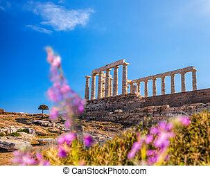 Poseidon, famosos,  Sounion, Grego, Grécia, capa, Templo