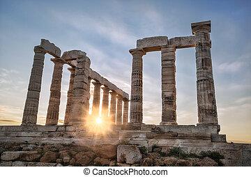 Famous Greek temple Poseidon, Cape Sounion in Greece - Greek...