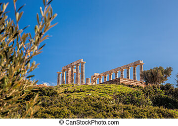Famous Greek temple Poseidon, Cape Sounion in Greece - Greek...