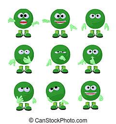 Cute Green Emoticon Art Illustration