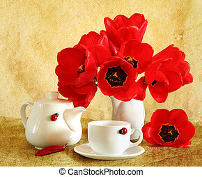 Still life with red tulips - Beautiful still life with red...