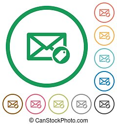 Tagging mail flat icons with outlines - Tagging mail flat...