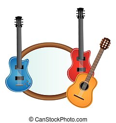 colorful silhouette with guitars set electric and acoustic