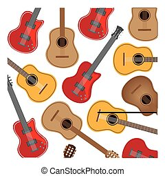 colorful background with electric guitars set