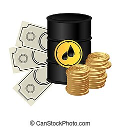 color background with barrel petroleum and money
