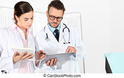 Doctors using a tablet, concept of medical consulting