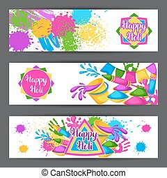 Happy Holi colorful banners. Illustration of buckets with...