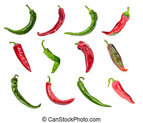 Top view of the several red and green chili - Top view of...