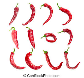 Top view of the several red peppers chili with a various...