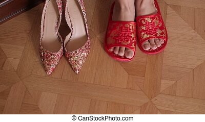 Woman foots and shoes closeup