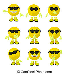 Cute Yellow Emoticon Art Illustration - Cute yellow emoticon...